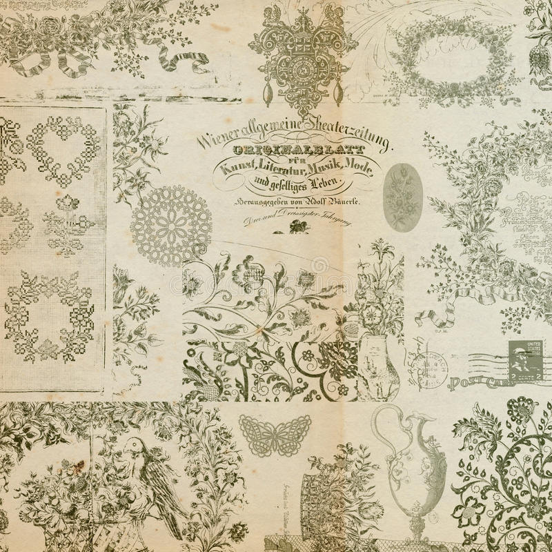 Antieke bloemenmontering of collageachtergrond