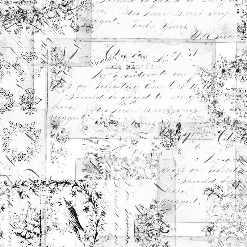 Antieke bloemenmontering of collageachtergrond stock foto's