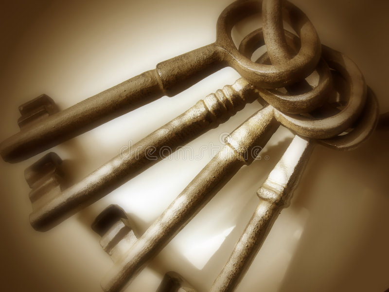 Antieke Bruine Sleutels - royalty-vrije stock afbeeldingen