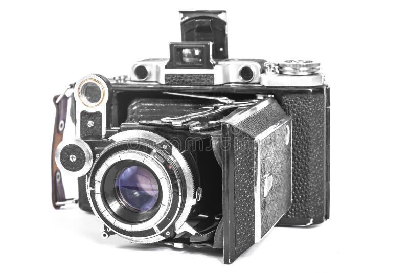 Antieke camera met een harmonikalens stock foto