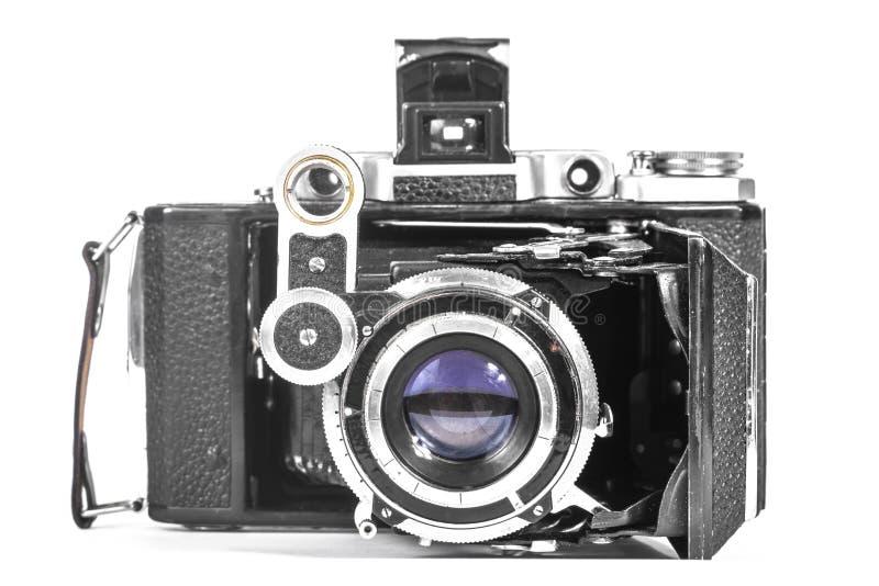 Antieke camera met een harmonikalens stock afbeelding