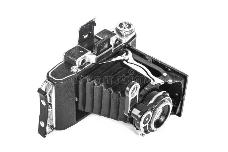 Antieke camera met een harmonikalens royalty-vrije stock afbeelding