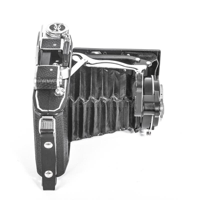 Antieke camera met een harmonikalens royalty-vrije stock foto