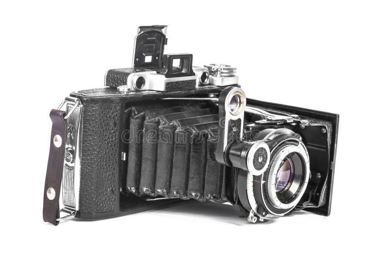 Antieke camera met een harmonikalens royalty-vrije stock fotografie