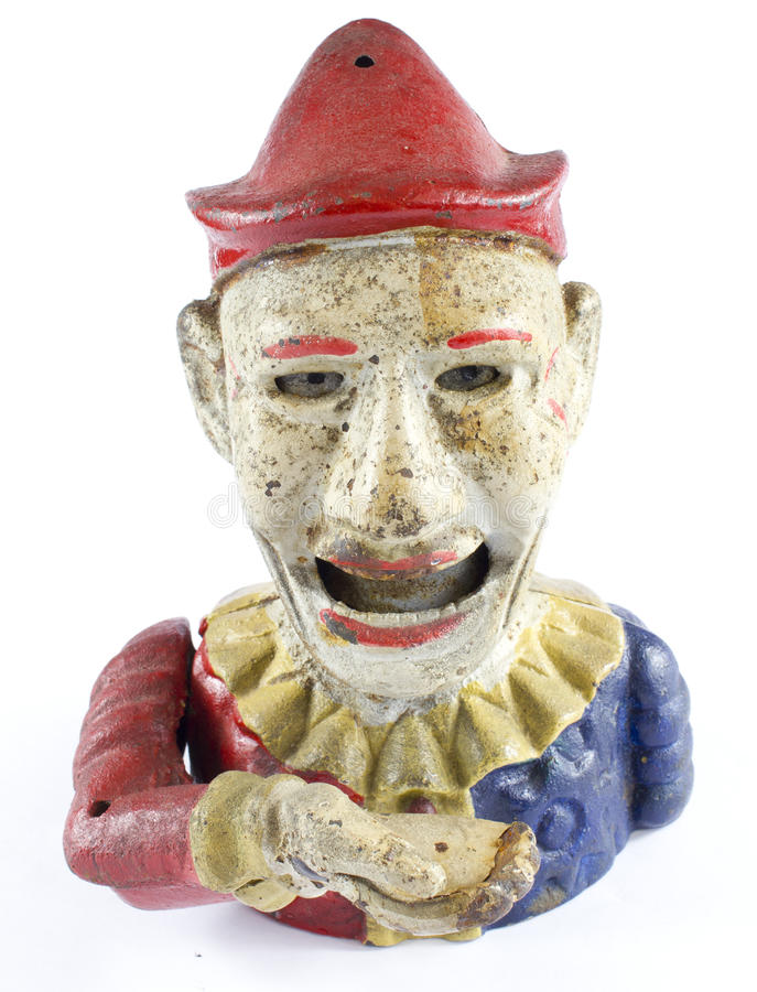 Antieke Clown Hand Money Box royalty-vrije stock afbeelding