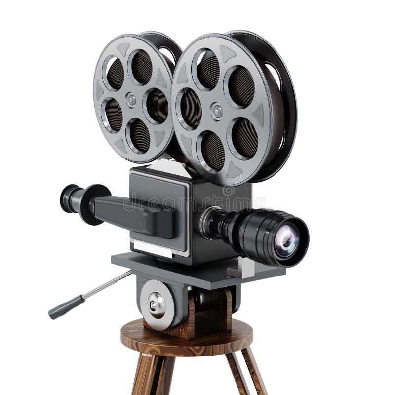 Antieke die filmcamera op witte achtergrond wordt geïsoleerd 3D Illustratie stock illustratie