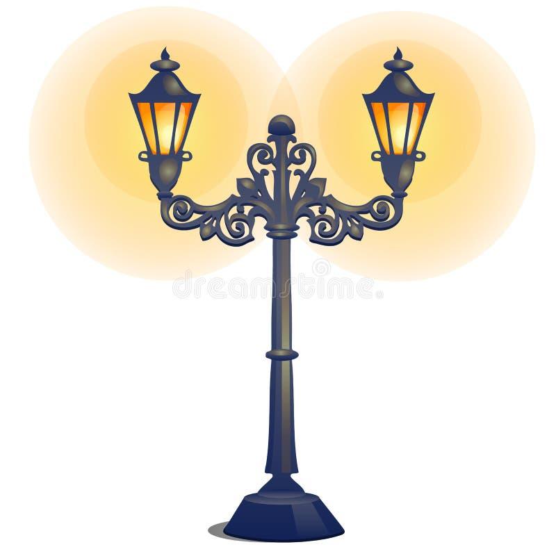 Antieke die lamppost op een witte achtergrond wordt ge?soleerd De vectorillustratie van het beeldverhaalclose-up stock illustratie