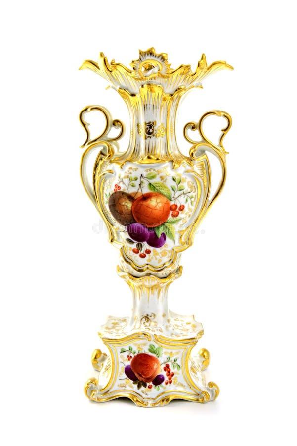 Antieke die vaas met vruchten van porselein in meer biedermeier tijden worden gemaakt royalty-vrije stock foto's