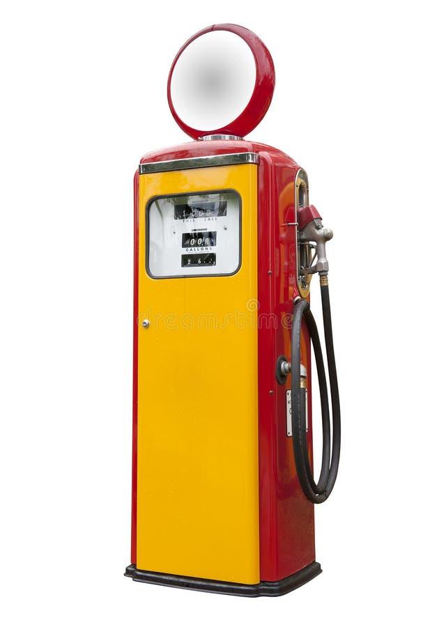 Antieke geïsoleerdee benzinepomp, stock afbeeldingen