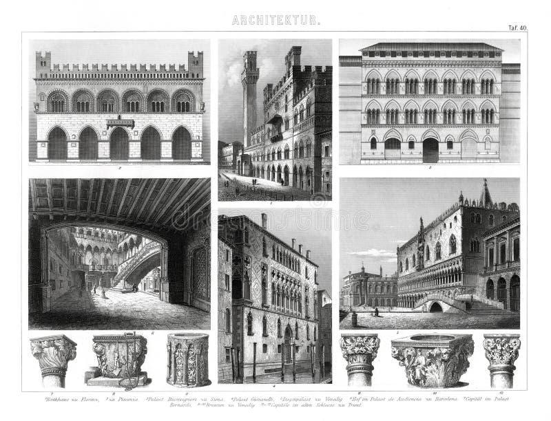 1874 antieke Gotische Druk van Italina en Renaissancearchitectuur stock illustratie