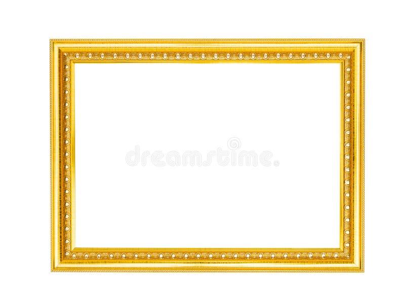 Antieke gouden die omlijsting op witte achtergrond, het knippen weg wordt ge?soleerd royalty-vrije stock afbeeldingen