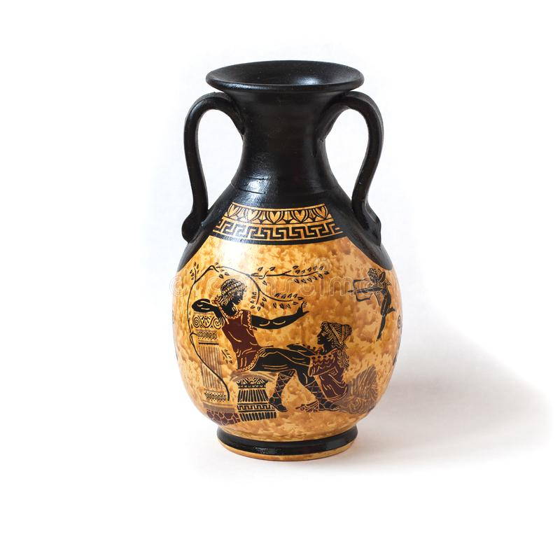 Antieke Griekse die karaf met ornament op witte backgroun wordt geïsoleerd stock foto