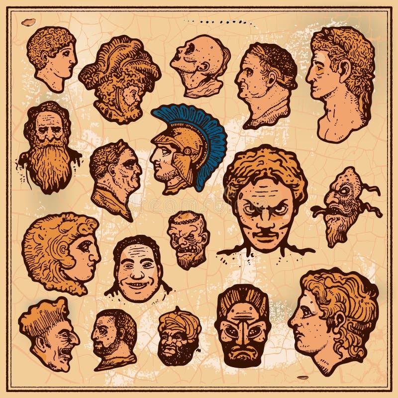 Antieke hoofden stock illustratie