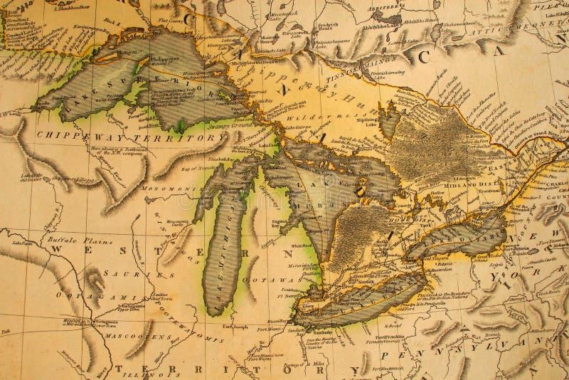 Antieke Kaart van de Grote Meren stock afbeeldingen