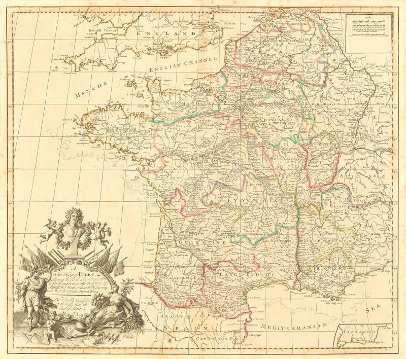 Antieke kaart van Frankrijk stock fotografie