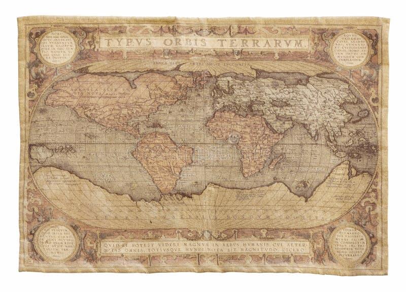 Antieke kaart van het wereldtapijtwerk dat op wit wordt geïsoleerd cartografie royalty-vrije stock fotografie