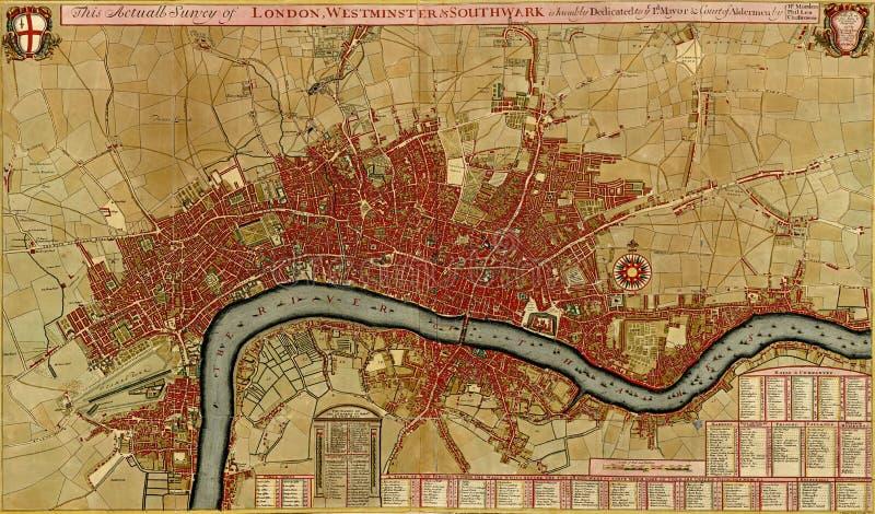 Antieke kaart van Londen, asnd Westminster Southwark, vector illustratie