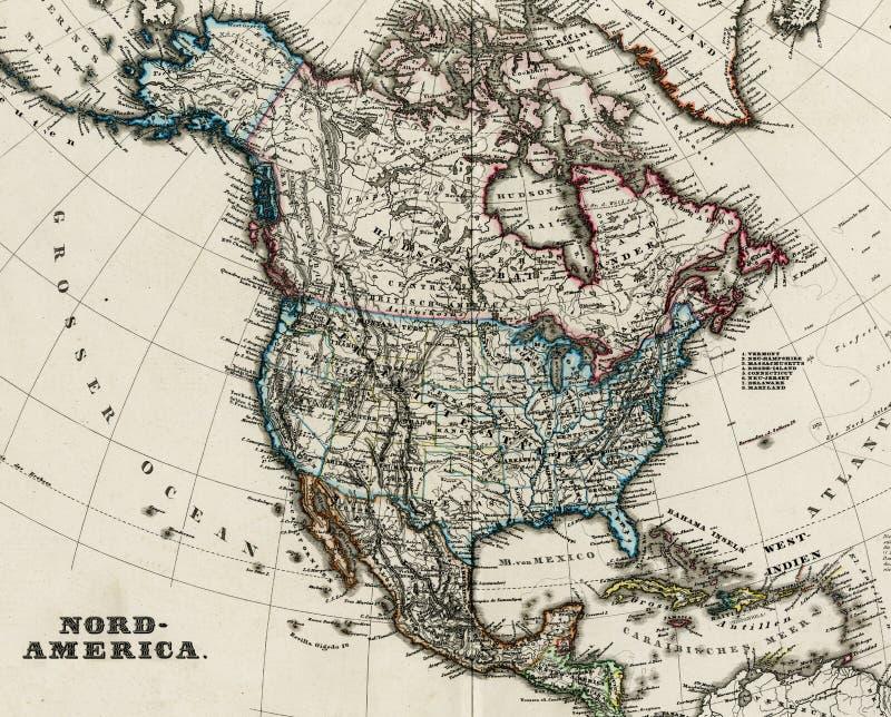 Antieke kaart van Noord-Amerika 1875 vector illustratie