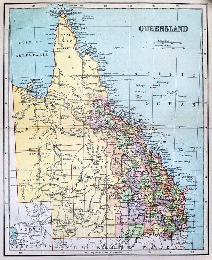 Antieke Kaart van Queensland royalty-vrije stock afbeelding