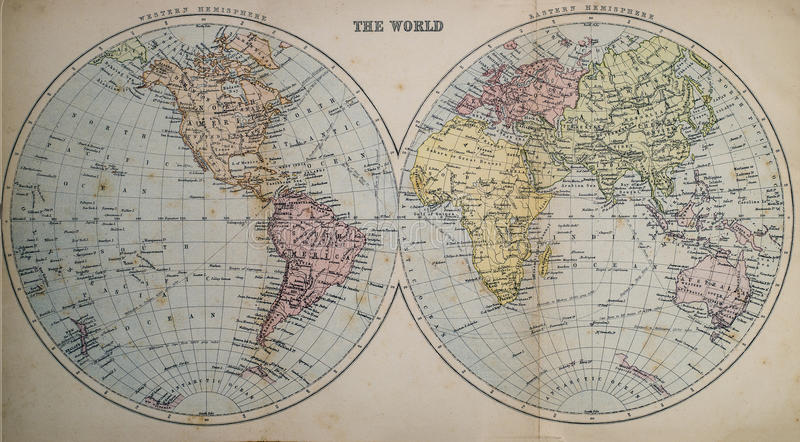 Antieke Kaart van Wereld royalty-vrije stock foto's
