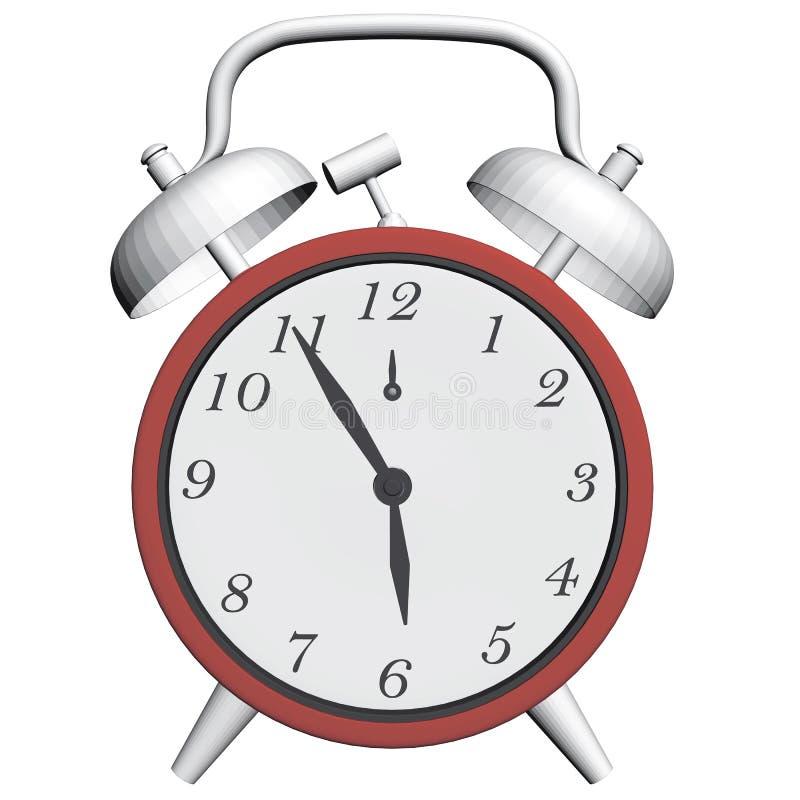 Antieke klok met wekker stock illustratie