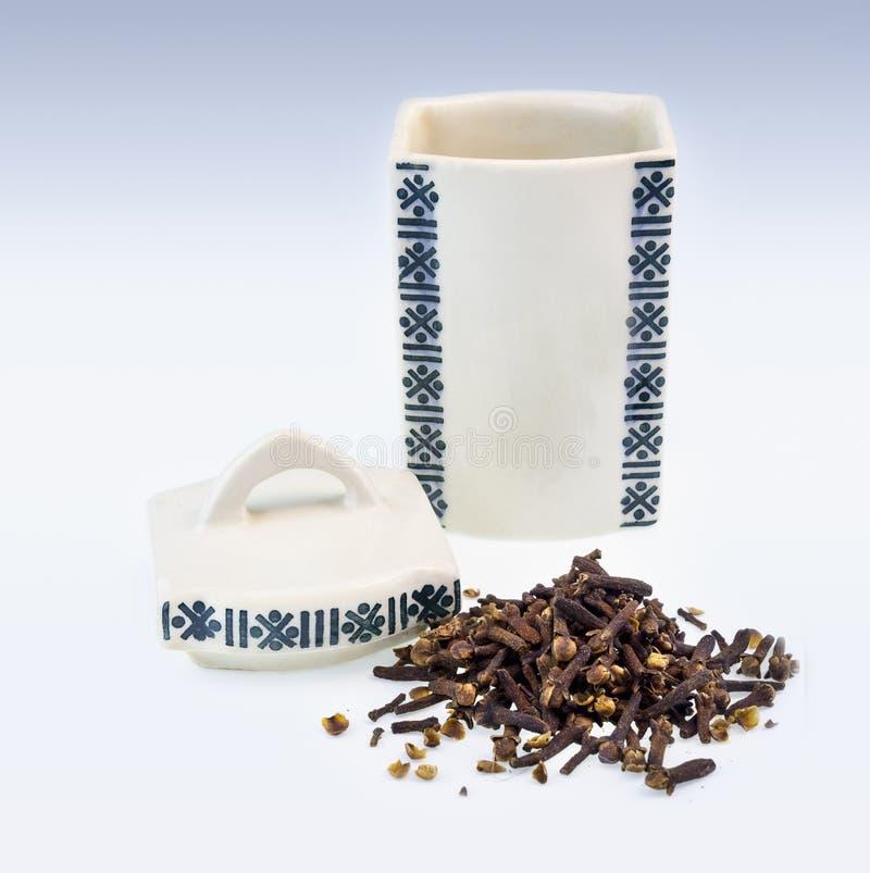 Antieke kruidkruik voor kruidnagel met kruidnagels royalty-vrije stock afbeelding