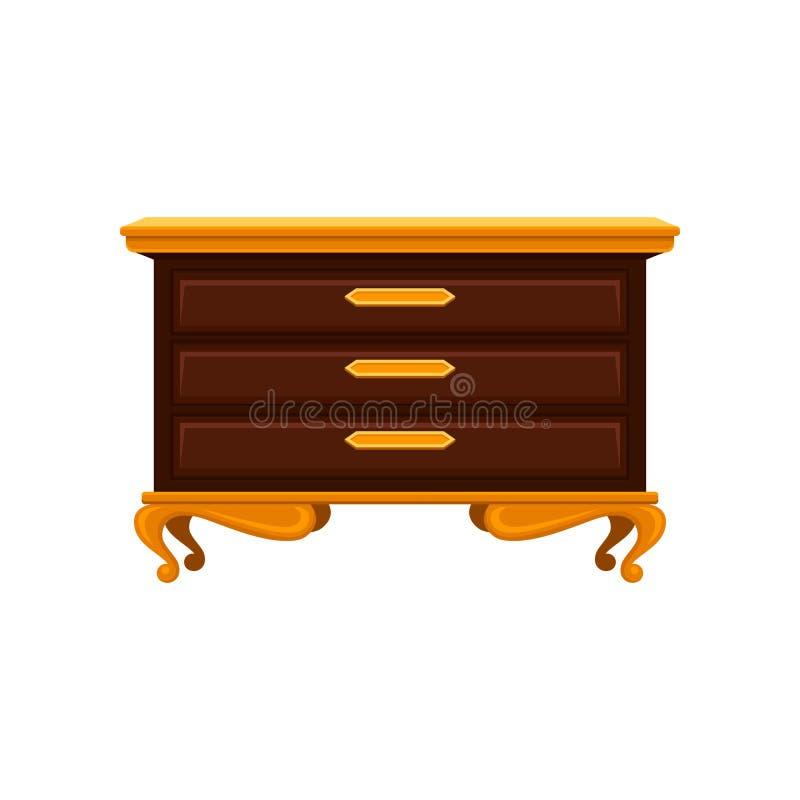 Antieke ladenkast met gouden benen, handvatten en hoogste oppervlakte Oude houten ladenkast Uitstekend meubilair Vlakke vector stock illustratie