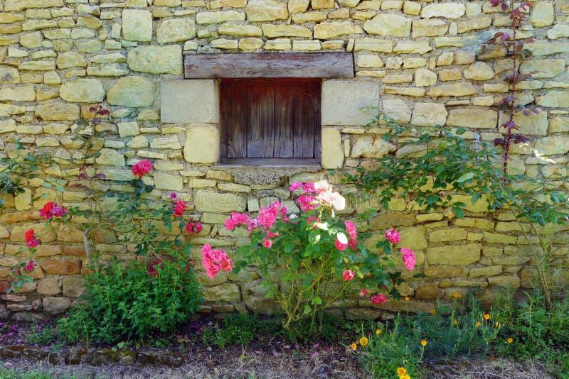 Antieke middeleeuwse gele steenhuis & rozen stock fotografie