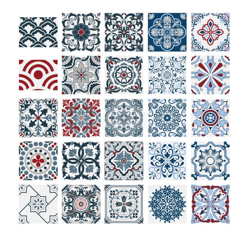 Antieke naadloze ontwerp van tegels het Portugese patronen in Vectorillustratiewijnoogst stock illustratie