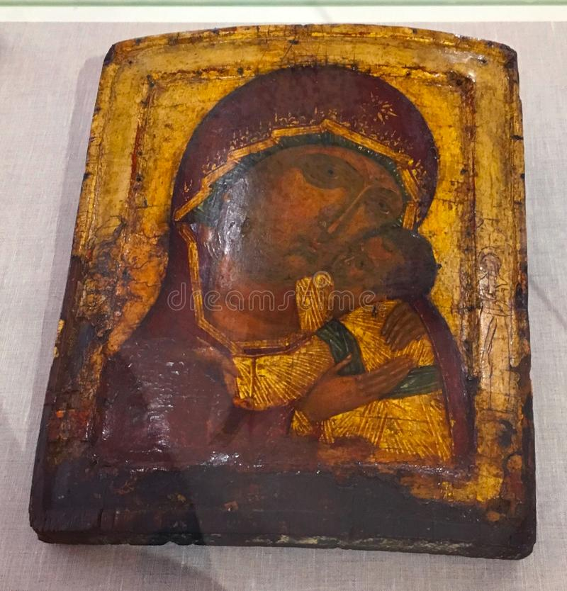 Antieke orthodoxe verf genoemd pictogram, Rhodos, Griekenland stock foto