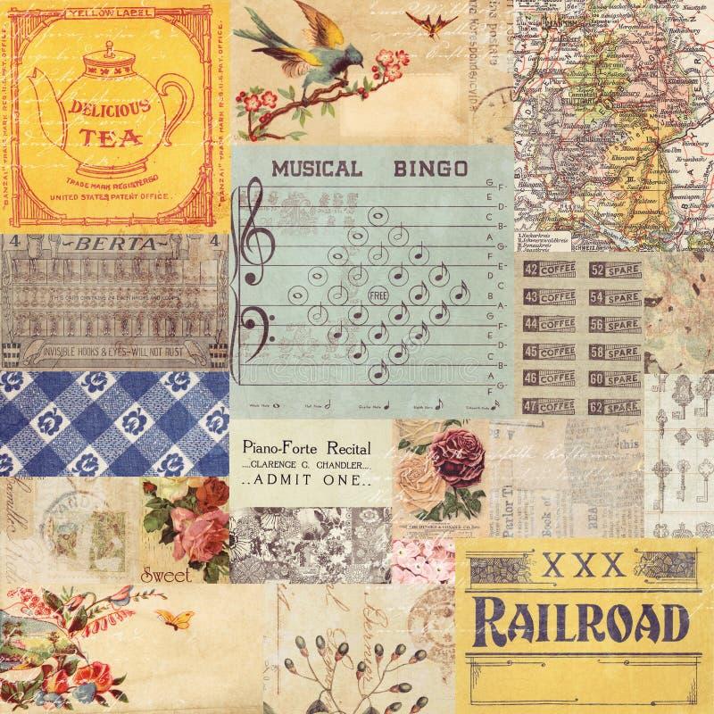 Antieke retro document collage stock foto