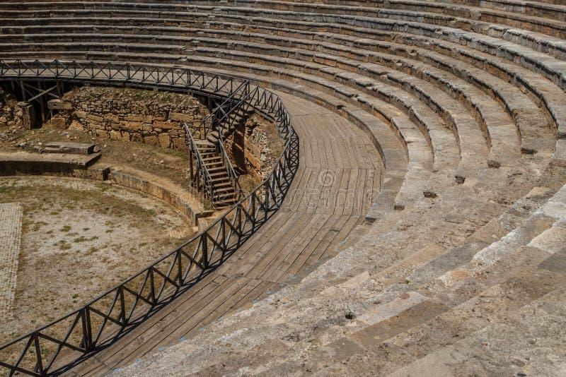 Antieke Roman theaterruïnes in Ohrid royalty-vrije stock foto's