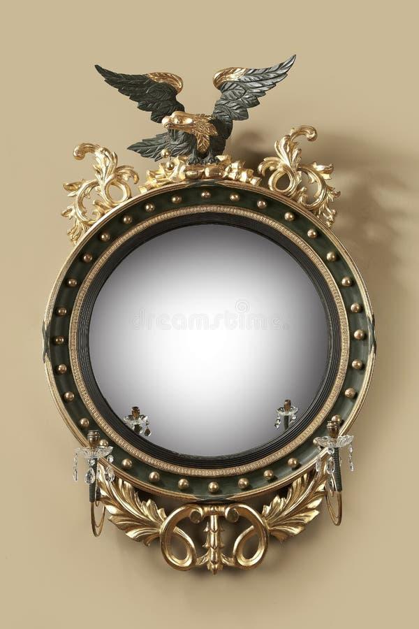 Antieke ronde zaalspiegel royalty-vrije stock afbeeldingen