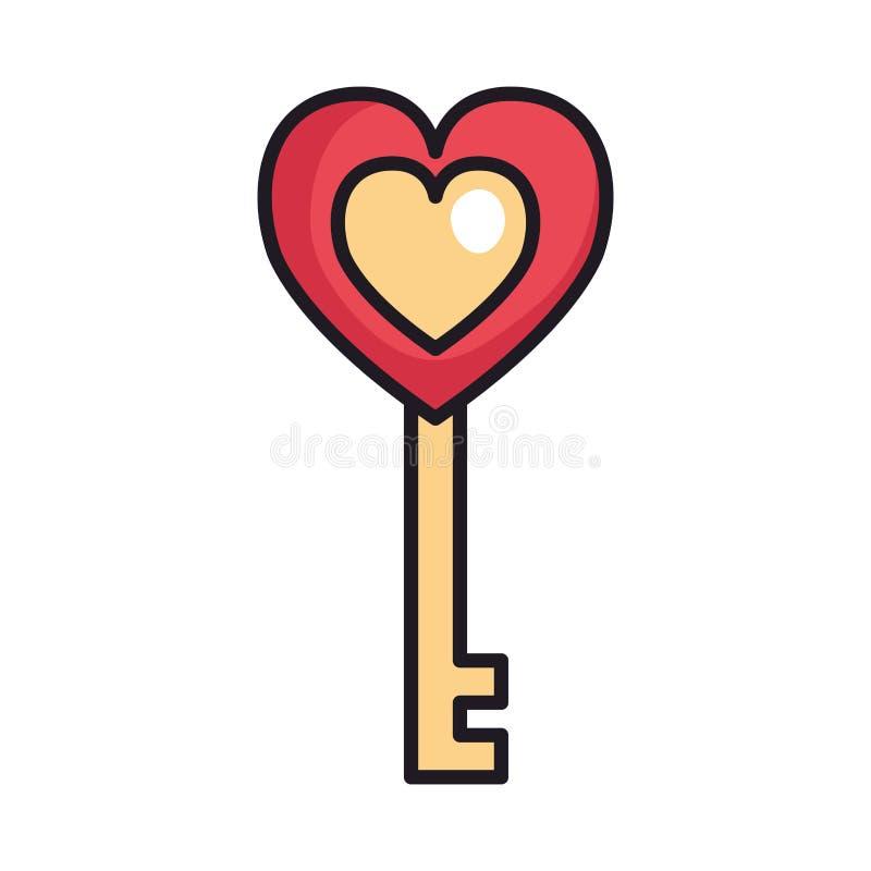 Antieke sleutel met hartliefde vector illustratie