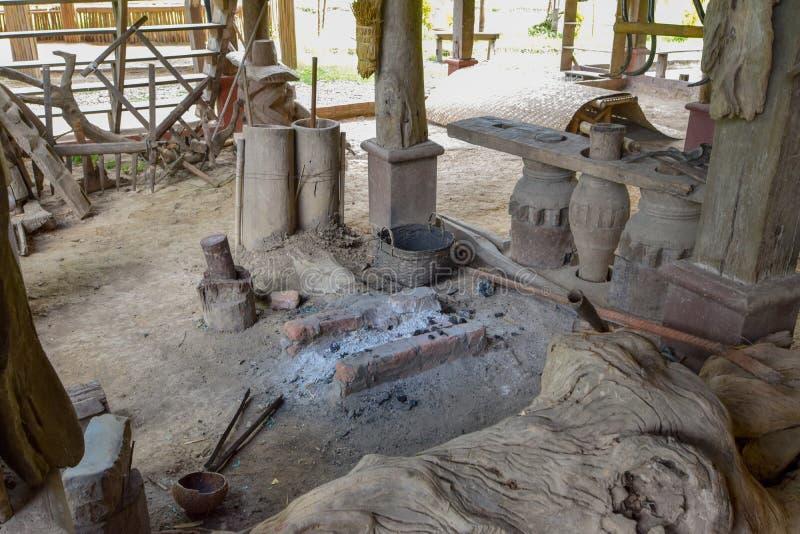 Antieke smidse, Antieke smidshulpmiddelen, het Oude binnenland van de smidseworkshop royalty-vrije stock fotografie