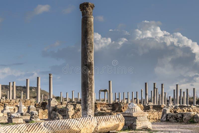 Antieke stad van Perge, Anatolië, Turkije - uitgravingen od royalty-vrije stock afbeelding