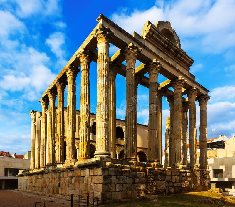 Antieke tempel van Diana Merida, Spanje stock foto's