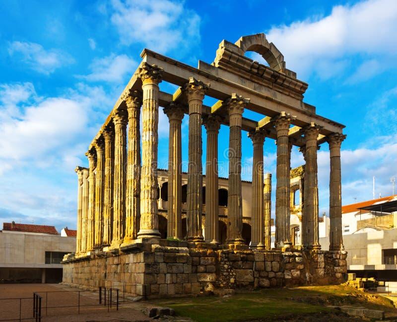 Antieke tempel van Diana Merida, Spanje stock afbeelding