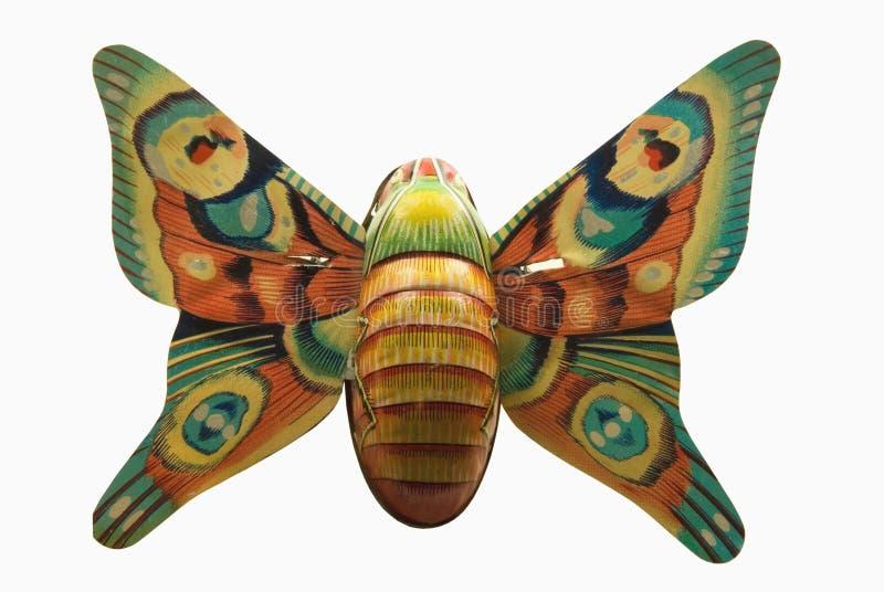 Antieke tinstuk speelgoed vlinder royalty-vrije stock foto's
