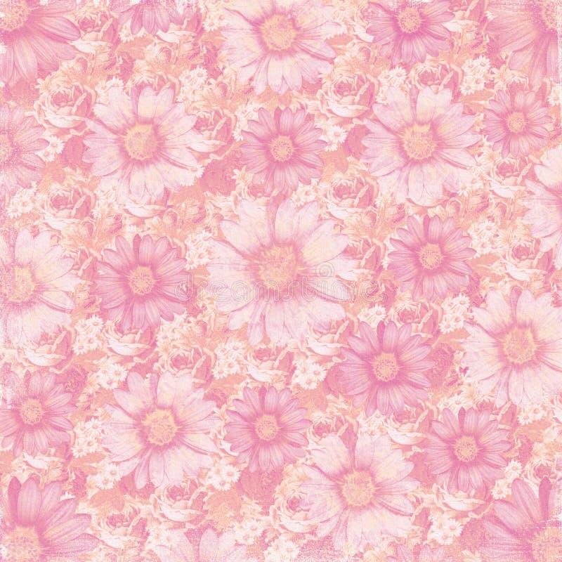 Antieke uitstekende bloemenachtergrond vector illustratie