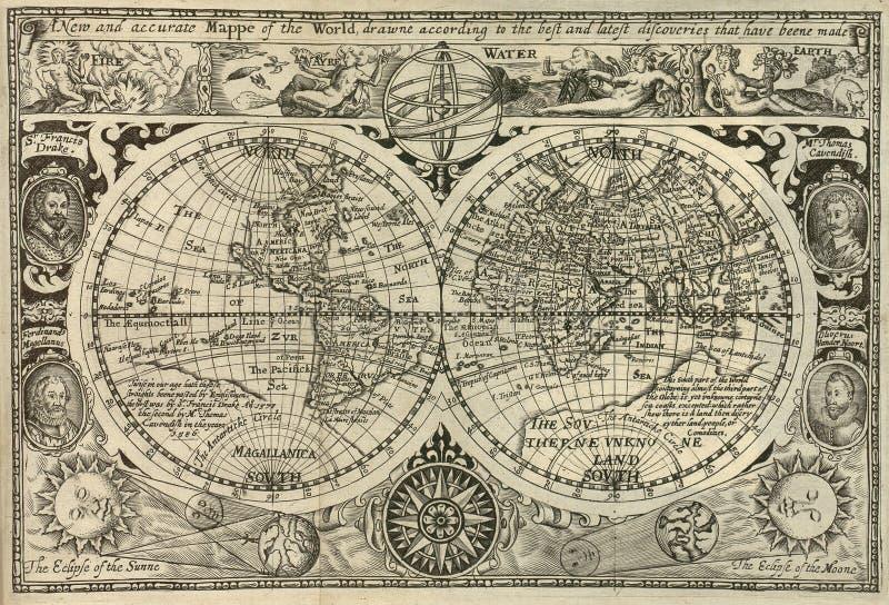 Antieke wereldkaart vector illustratie