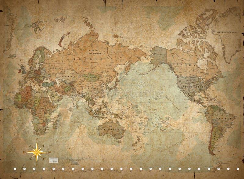 Antieke wereldkaart royalty-vrije illustratie