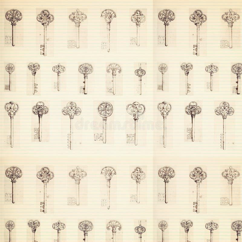 Antieke zeer belangrijke patroonachtergrond met grootboekdocument vector illustratie