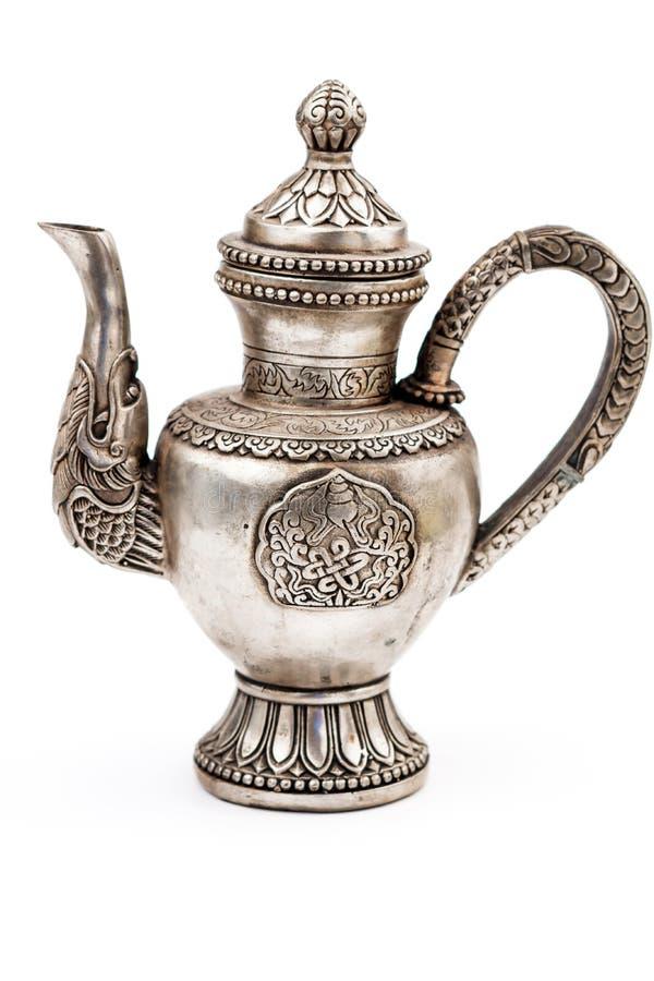 Antieke zilveren theepot stock fotografie