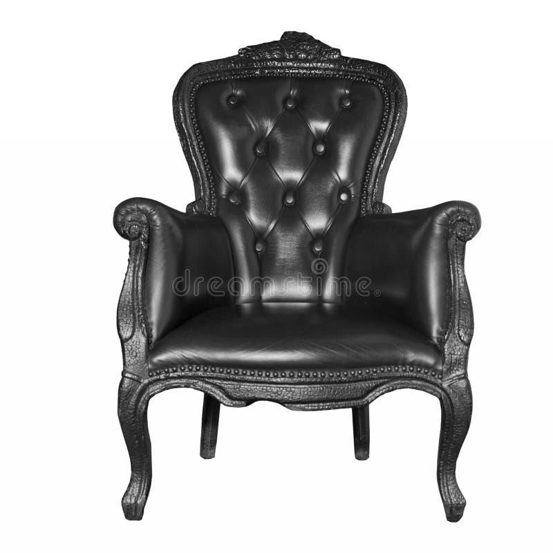 Antieke zwarte leerstoel stock foto's