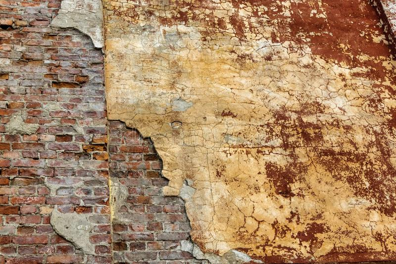 Antient cracked brick wall background royalty free stock photo