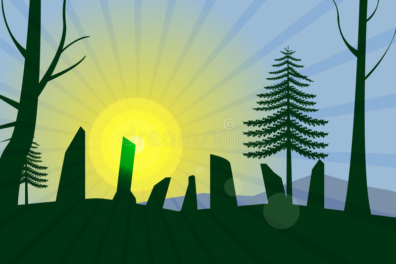 Antient cromlech at morning light. Vector illustration stock illustration