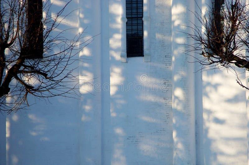 Antient vägg i vinter fotografering för bildbyråer