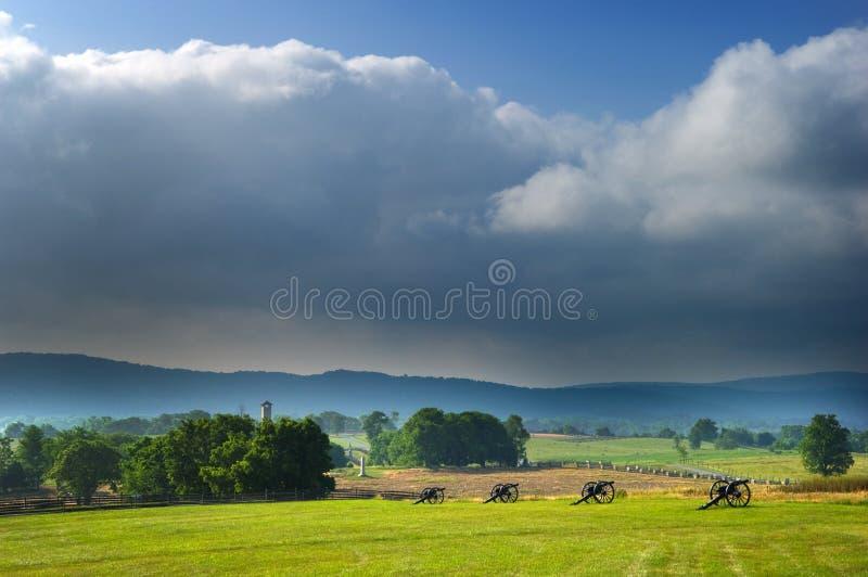 Antietam Battlefield Panorama. Overview of a portion of the Antietam Battlefield in SHArpsburg, Maryland, USA stock photo