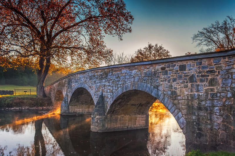 Antietam Burnside Bridge in Autumn. The Burnside Bridge was a central element in the Battle of Antietam in September 1862. It took three attempts for the Union royalty free stock photo